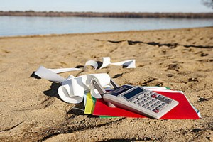 Calculator on the beach